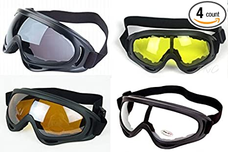 d96e5a0f2c2   4 Goggles   Anti Glare Black Frame Multi Sport Outdoor Motorcycle Riding  Snowboard Airsoft Ski