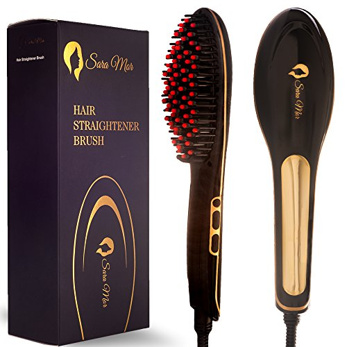 Price comparison product image Hair Straightener Brush by Sara Mor: Heated Gold Detangle Comb for Straightening, Infused with Anion, Rapid Heating Ceramic Plates, and Thermal Insulation Tips plus Free Travel Bag and 2 Hair Clips