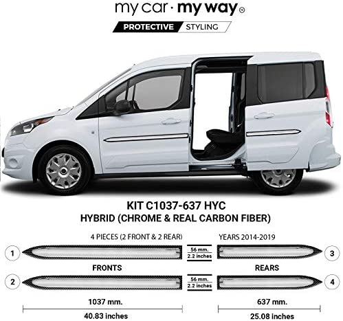 MY CAR MY WAY (Fits) Ford Transit Connect 5 Seater 2014-2019 Hybrid Body Side Molding Cover Trim Door Protector