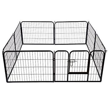 PawHut - Recinto con valla de rejas para cachorros de perro y gato o roedores - 8 módulos de 80 x 60 cm: Amazon.es: Jardín