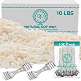 "#8: Hearts and Crafts Soy Candle Wax and Wicks for Candle Making, All-Natural - 10lb Bag with 100ct 6"" Pre-Waxed Candle Wicks, 2 Centering Device"