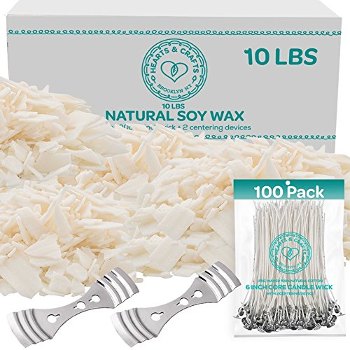 "Hearts and Crafts Soy Candle Wax and Wicks for Candle Making, All-Natural - 10lb Bag with 100ct 6"" Pre-Waxed Candle Wicks, 2 Centering ()"