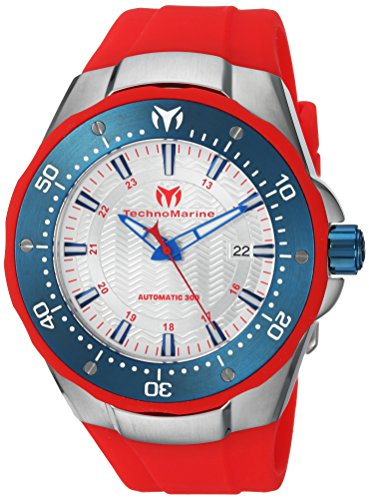 Technomarine Men's 'Manta' Automatic Stainless Steel and Silicone Casual Watch, Color:Red (Model: