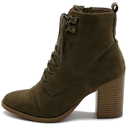 - Ollio Women's Shoe Faux Suede Lace Up Stacked High Heel Ankle Boots SSB09 (8.5 B(M) US, Khaki)