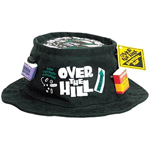 Amscan The Party Continuous Adult Birthday Party Over the Hill Survival Fishing Hat in Black , Black , One Size, fabric by Amscan
