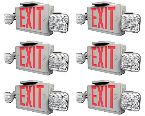 Ciata Lighting LED Red Exit Sign & Emergency Light Combo with Battery Backup (6 Pack)