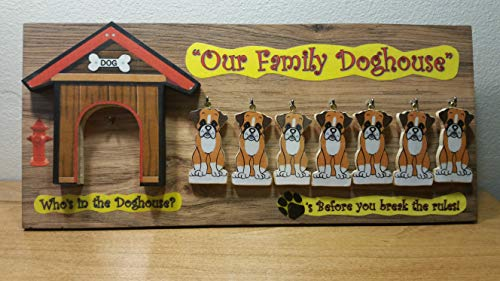 (Handcrafted Who's in The Doghouse? Family of 7 Deluxe Wall Plaque with Boxer Dogs-Made in The USA)