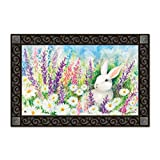 "White Bunny Easter Spring Doormat Indoor / Outdoor Bunny MatMates 18"" x 30"""