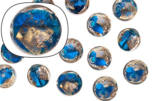 Glass beads, blue with gold and silver-colored foil finished with golden glitter, 12mm round sold per 15 pcs/string