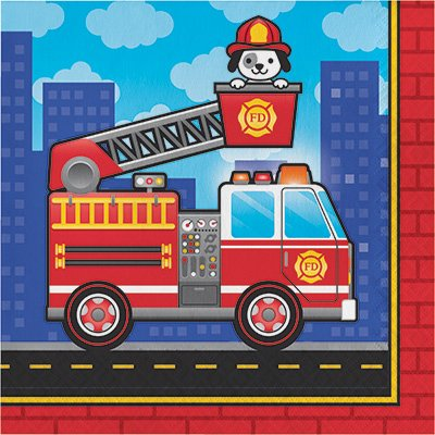 Firefighter Birthday Party Bundle Includes Happy Banner Candles Table Cover Gift Bags Dizzy Danglers 16 Dessert Plates