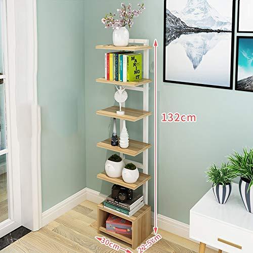 Shelf 7 Tier Living Room Iron Art Corner Multi-Layer Steel Wood Flower Stand Storage Box Partition Landing Bookshelf (Color : Light Walnut-b)