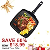 """KI 11"""" Square Griddle Healthy Ceramic Nonstick with Induction Bottom, Aluminum Grilled Cheese Griddle Cookware Fry Pan, 1 Year Warranty"""