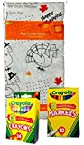 Kids Color-on Thanksgiving Turkey Tablecloth Activity Set with Crayons and Markers (Set of 3)
