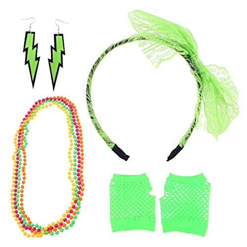 Toyvian 80s Costume Sets Lace Headband Neon Earrings Fingerless Fishnet Gloves Necklace for Women 80s Party Fancy Dress (Light Green)