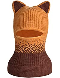 Toddlers Girls Boys Winter Scarf Shawl Hat Warm Knit Face Cover Balaclava (Yellow)