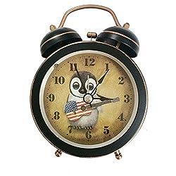 Penguin Play Guitar Silent Quartz Analog Quiet Non-ticking Retro Vintage Classic Bedside Twin Bell Alarm Clock Wind-Up Clock with Loud Alarm and Nightlight (Black)