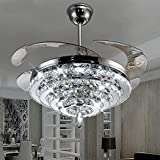 Lighting Groups Invisible Ceiling Fans 4 Circles Crystal Ceiling Fan Lamp-42 inch Transparent Retractable Blades Remote Control Electric Fan Chandelier With LED Three Color Lights -for Indoor (Silver) For Sale