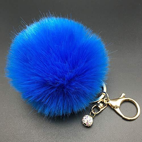 Sapphire Handbag - Afco Women Girl Faux Fur Fluffy Pompom Ball Car Pendant Handbag Charm Key Chain Keyring 2# Sapphire Blue