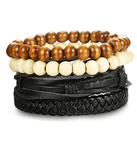 LOYALLOOK 4-8pcs Mixed Wrap Leather Wristbands Bracelets and Wood Beads Bracelet Set for Men Women 7-8.5inches Adjustable