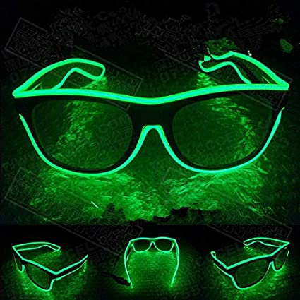 95038aa68c Buy Leoie Flashing LED Neon Rave Glasses El Wire Glow Sunglasses Light up  DJ Costumes Christmas