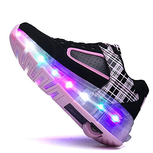 Chic Sources Jungen Mädchen wiederaufladbare leuchten Roller Schuhe auf Rädern LED Skate Sneakers Schwarz Rosa
