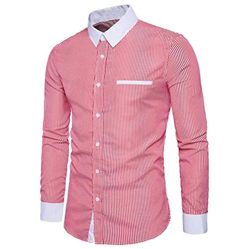 Mens Stripe Dress Shirt Slim Fit Spread Collar Fashion Long Sleeve Formal Blouse(Red,Bust:36