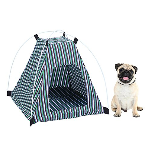 URIJK Portable Folding Pet Tent - Dog Cat House Bed Tent with Soft Removable Cushion - Waterproof Indoor Outdoor Cat Teepee Tent - Safety Shelter for Dog Cat