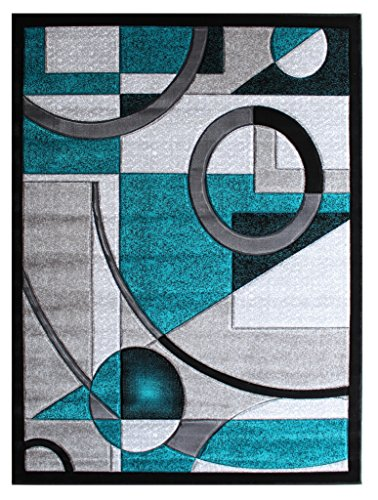 Masada Rugs, Sophia Collection Hand Carved Area Rug Modern Contemporary Turquoise White Grey Black (5 Feet 3 Inch X 7 Feet)