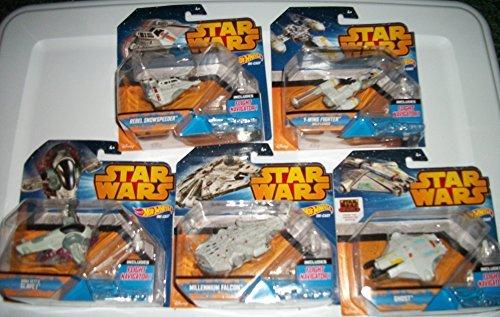 5 Star Wars Hot Wheels Space Ships /BOBA FETTS / SLAVE 1/MILLENNIUM FALCON/ GHOST/ REBEL SNOWSPEEDER/ Y-WING FIGHTER GOLD LEADER