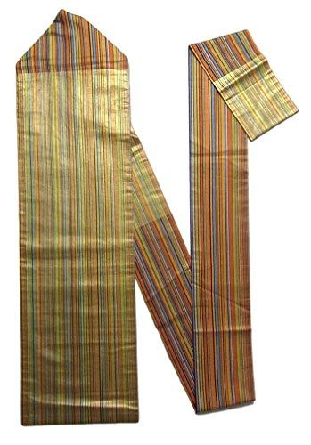 テスピアン建設摂動リサイクル 名古屋帯 縞模様 金通し 正絹