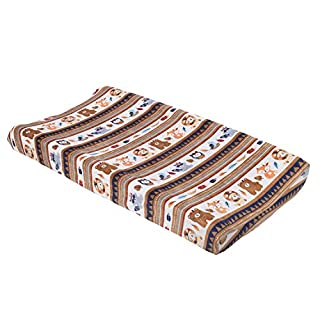 NoJo Aztec Forest Super Soft Changing Pad Cover, Navy, Tan, Orange, Light Blue