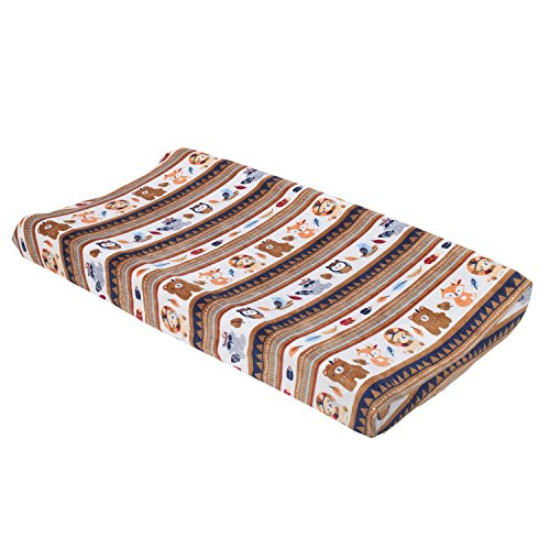 NoJo Aztec Forest Super Soft Changing Pad Cover, Navy, Tan, Orange, Light - Critter Nojo