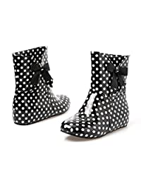 Women's Sweet Riding Rain and Garden Short Boots with Bow Polka Dot Print