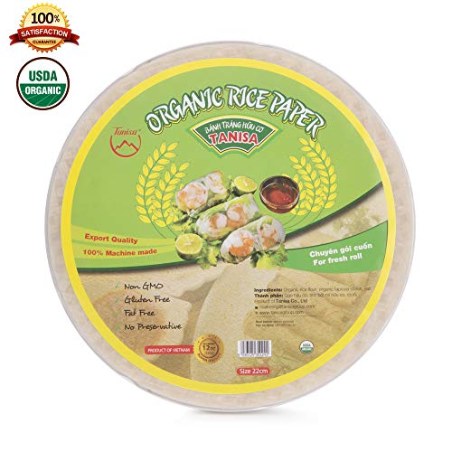 - Tanisa Organic Spring Roll Rice Paper Wrapper for Fresh roll (22cm, Round, 12 oz)