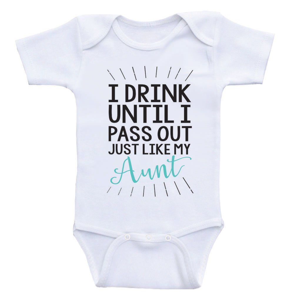 Heart Co Designs Aunt Baby Clothes Drink Until I Pass Out Just Like My Aunt Funny Onesies (3mo-Short Sleeve, Sea Foam Green Text)