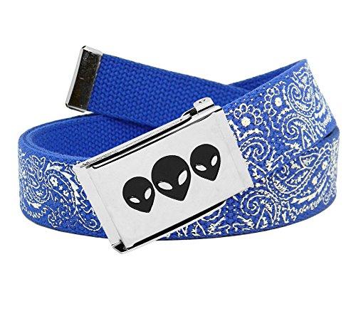 Men's Silver Flip Top Aliens Belt Buckle with Printed Canvas Web Belt Large Blue Bandana Print - Printed Canvas Belt