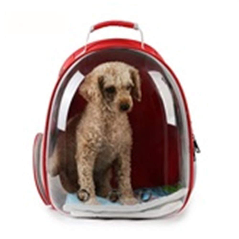 Red Cat Bag Dog Bag Space Capsule pet Bag Breathable Out Bag Portable Transparent Waterproof pet Backpack (color   Red)