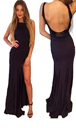 HONGFUYU Womens Black Prom Dress Long Backless Prom Dress Side Slit Formal Prom Dress Black-