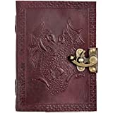 CARVEx Leather Journal Double Dragon Handmade Writing Notebook 7 x 5 Inches Unlined Paper, Brown Antique Leatherbound Daily Diary Notepad for Men & Women Gift