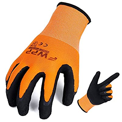 FWPP High Visibility Nylon Latex Foam Coated Work Gloves,Breathable Soft Wearproof Non-slip Comfortable Safety Protective Glove Pack of 6Pairs Extra Large Fluorescence Orange