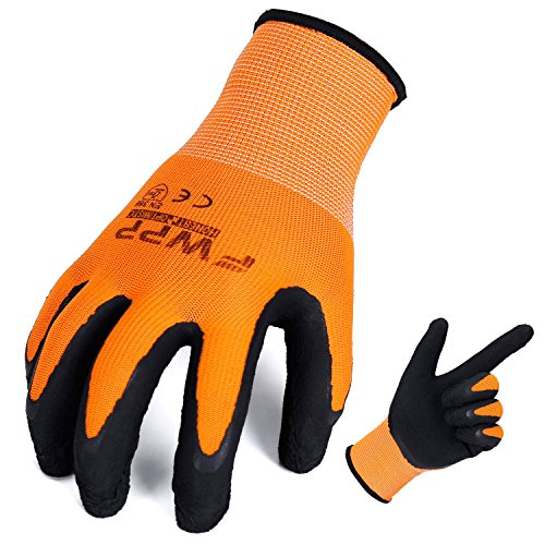 FWPP High Visibility Nylon Latex Foam Coated Work Gloves,Breathable Soft Wearproof Non-Slip Comfortable Safety Protective Glove Pack of 6Pairs Extra Large Fluorescence Orange (Coated Gloves Work Latex)