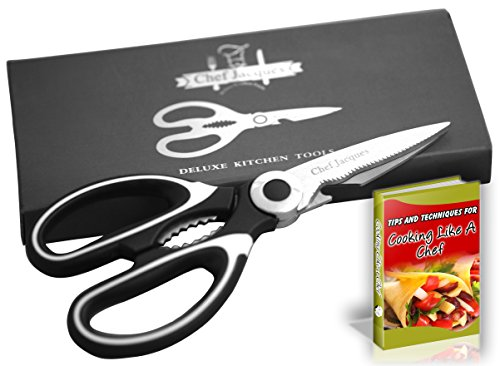 Chef Jacques Premium Stainless Steel Kitchen Shears - Award Winning Heavy Duty Multi Function Kitchen Scissors - Large Super Sharp with Soft Grip Handles (Black) - eBook Included (Total Control Scissors)
