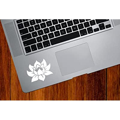 Lotus Flower - Design 1 - Trackpad/Keyboard - Vinyl Decal (Color Variations Available) (White): Automotive