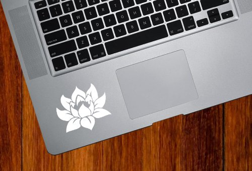 Finish Flower (Lotus Flower - Design 1 - Trackpad / Keyboard - Vinyl Decal (Color Variations Available) (White))