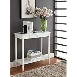 Convenience Concepts French Country Hall Table with Drawer and Shelf, White
