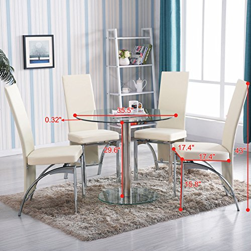 Round Glass 5 Piece Dining Table Set 4 Chairs Kitchen Room Furniture Breakfast