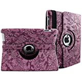 SANOXY 360 Degrees Rotating Stand (PURPLE) Stylish Embossed Flowers Case for iPad 3 / The New iPad (3rd Generation) /iPad 2, Supports Smart Cover Wake/Sleep Function