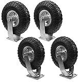 XtremepowerUS 10'' Pneumatic Tire Air 2 Rigid & 2 Swivel Heavy Duty Tires
