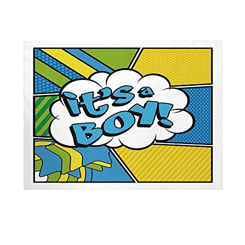Gender Reveal Decorations Photography Background,Pop Art Comics Its A Boy Vintage Announcement Backdrop for Studio,10x8ft