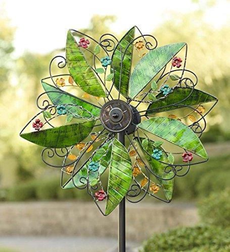 (Wind & Weather KA6997 Solar Leaves Wind Sculpture, Green )